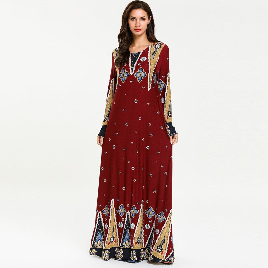 De Abaya Dubai Mujer Plus tamaño ropa musulmana vestido de la impresión de manga larga suelta árabe vestido el Islam Jilbab vestido 4,29