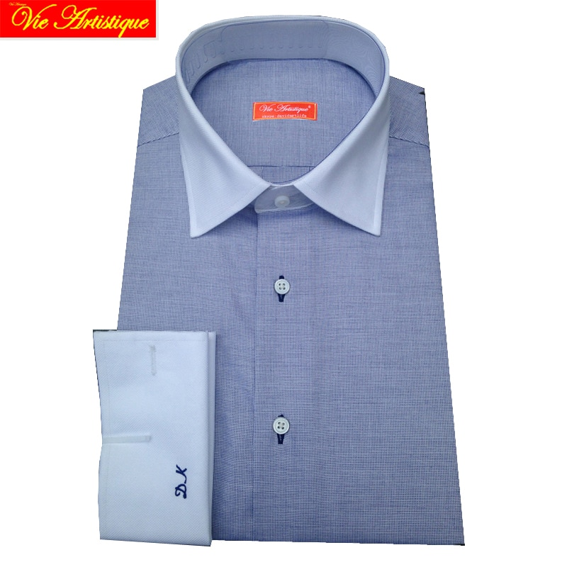 Manga larga hombre de negocios vestido formal azul oxford blanco brazalete francés boda camisas de tamaño grande casual Camisa de algodón A medida