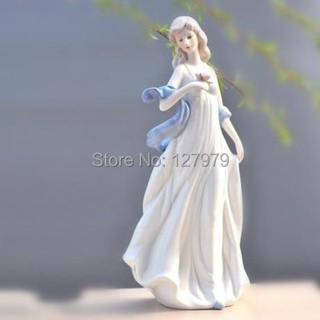 Décor en porcelaine pour fille modeste   Artisanat en céramique, pour dame, prendre des fleurs, cadeau damour, figurine, statue détude, salon, ornement pour fille