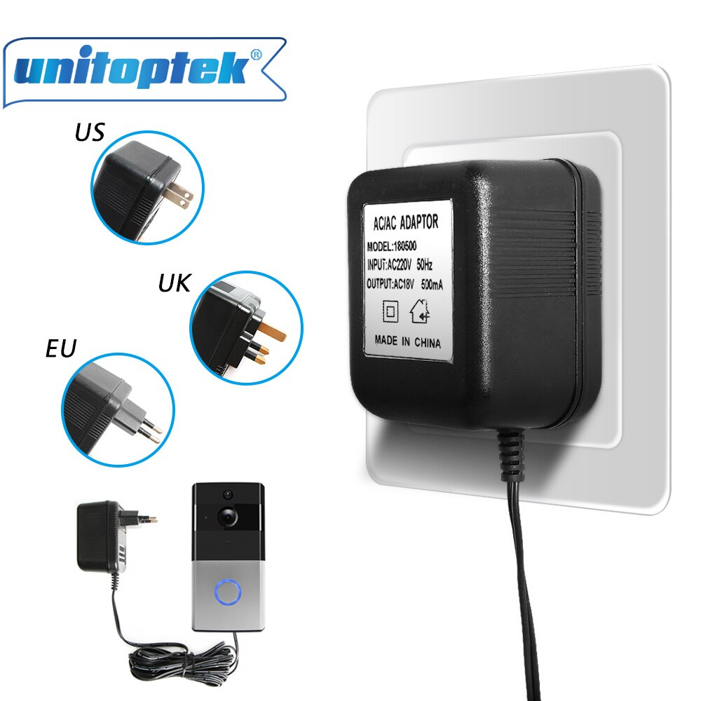 18V 500Ma timbre AC 110 V-240 V adaptador de fuente de alimentación transformador para WIFI inalámbrico Video timbre 5M Cable enchufe UE/EE. UU./Reino Unido