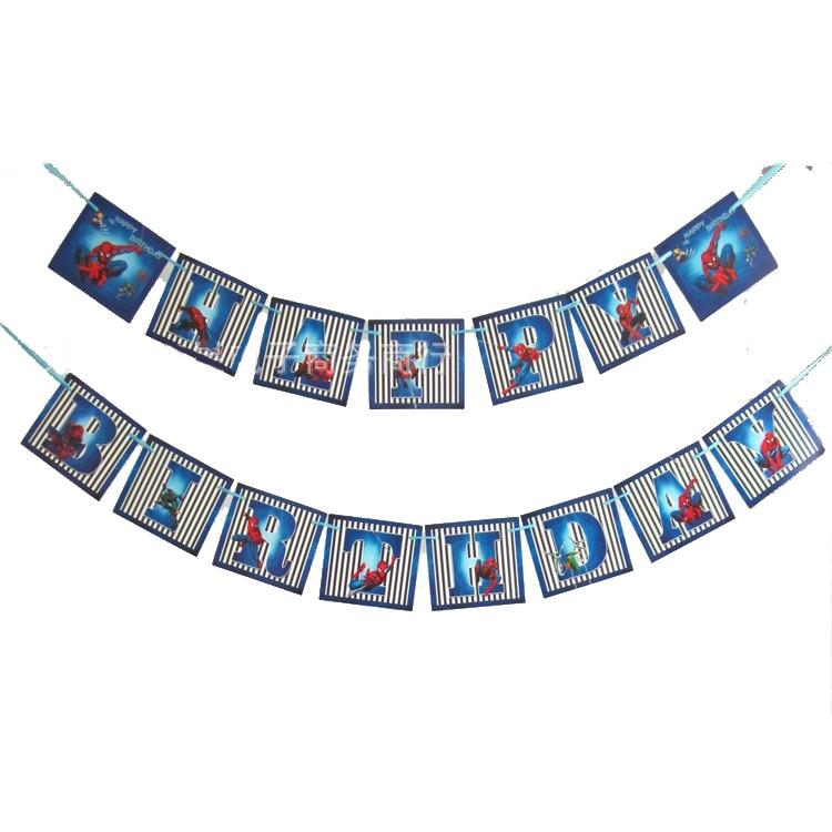 15 unids/set Spider Man cartel de feliz cumpleaños niños fiesta de cumpleaños guirnaldas Banner banderas decoración para fiesta de bienvenida de bebé suministros