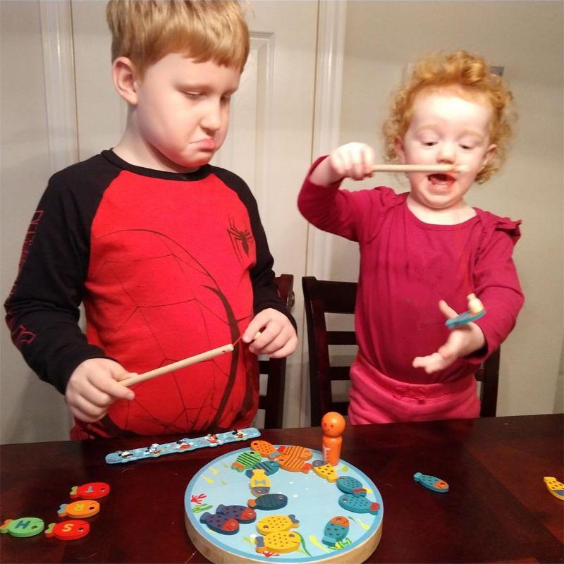 Магнитная деревянная рыболовная игра игрушка для малышей алфавит ловля рыбы