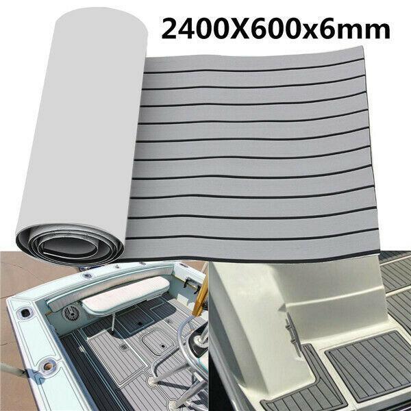 EVA Foam Teak Deck Sheet Self Adhesive Boat Yacht Synthetic Decking Foam Floor Mat 2400x600x6mm GRAY With Black Strips