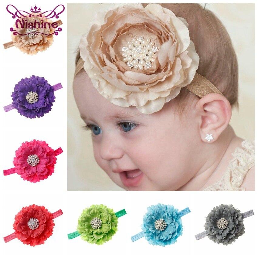 Flor de peonía Nishine de 18 colores para niños con botón de perlas con brillantitos de imitación diadema brillante fiesta de cumpleaños regalo accesorios para el cabello sesión de fotos