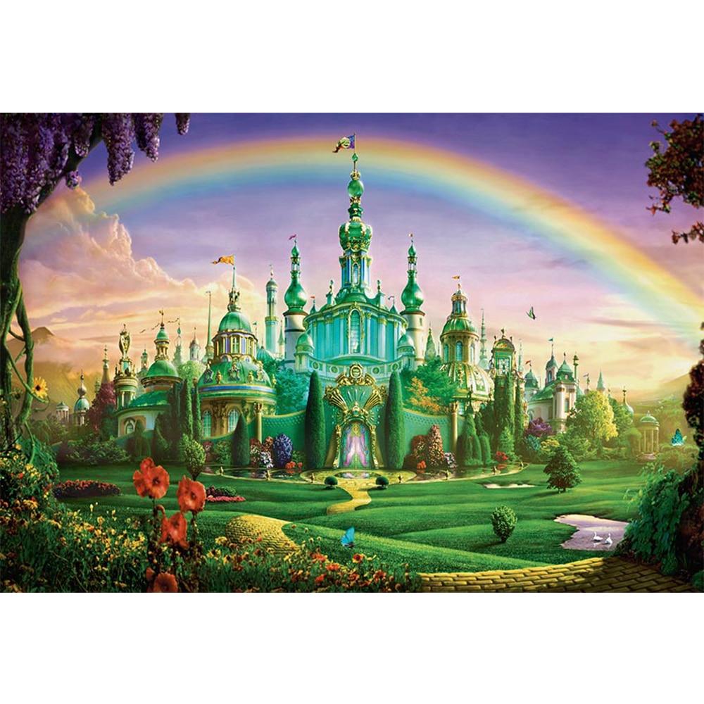 Сказочная страна чудес Радуга принцесса замок кирпичная дорожка цветы фоны