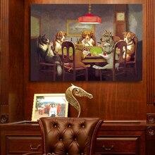 QKART obraz olejny płótno artystyczne drukuje psy grające w pokera nie oprawione obrazy ścienne ze zwierzętami do salonu plakaty i druki