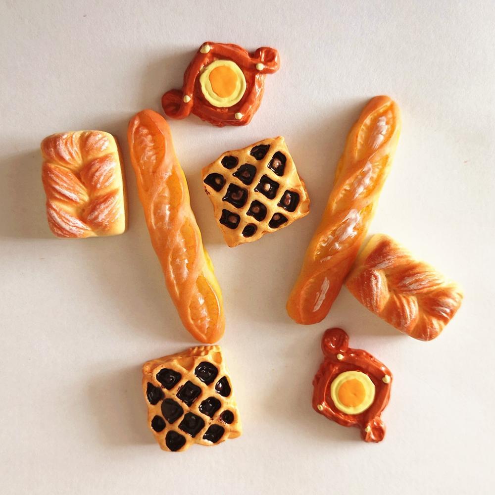 8 stücke Hause Handwerk Mini Lebensmittel Brot Ornament Miniatur Puppenhaus Dekor Puppe haus Zubehör Gefälschte Croissant