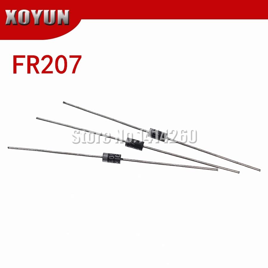 100 unids/lote FR207 2A 1000V ¿-15 diodo rectificador de