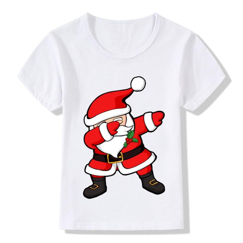 Dabbing Santa Pattern Funny Children T shirt Kids Merry Christmas Cartoon Clothes Baby Boys Girls Summer T-shirt,ooo5112