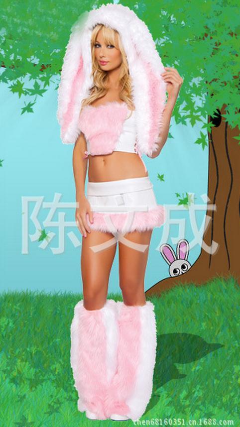 Lencería Sexy para Cosplay, disfraces de conejito encantador, disfraces eróticos de rol para Mujer, Disfraz peludo para Halloween, WL80