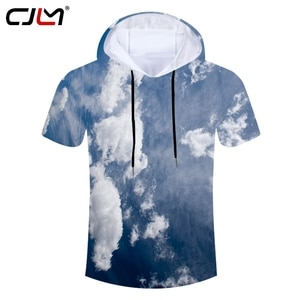 CJLM Unisex Casual Brand Hooded Tshirt Man Polyester Hoodies Tee Shirt 3D Full Printed Blue Sky And White Clouds Men's T-shirt
