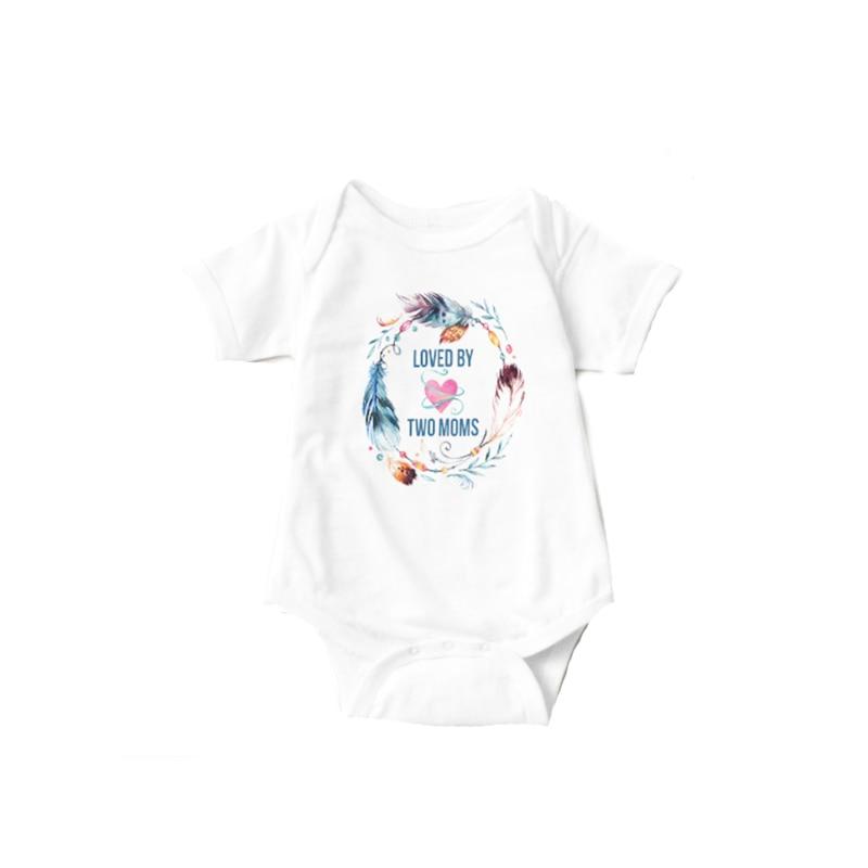 YSCULBUTOL Loved By Two Moms Bohemian White Short Sleeve Baby Bodysuit