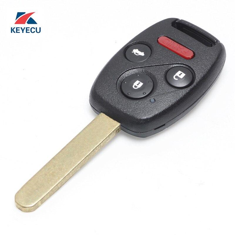 Chave remota do carro da substituição de keyecu fob 3 + 1 botão para honda accord sedan 2008-2012/piloto 2009-2015 fcc id kr55wk49308