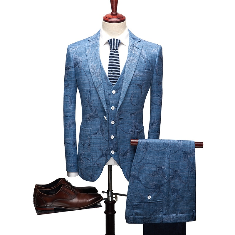 Traje Formal de negocios, traje de novio Jacquard, recién llegado, traje de hombre, traje de boda azul y gris, conjunto de 3 uds de traje Masculino