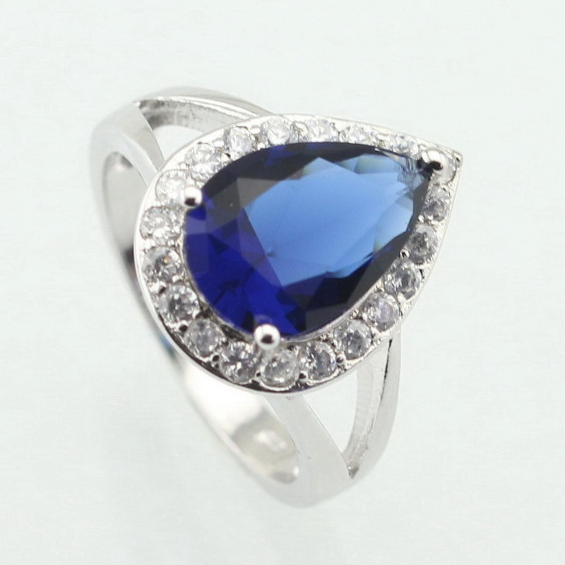 WPAITKYS кольцо для женщин с голубым фианитом, белым камнем, серебряным цветом, отличительные ювелирные изделия с кристаллами, Размер 6 7 8 9 10, Бес...