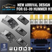 KEYECU 5pcs Nero Affumicato Lens Cab Roof Luci di Posizione Roof Top Liquidazione Lampada di Ricambio + 5pcs GIALLO T10 set per 03-09 Hummer H2
