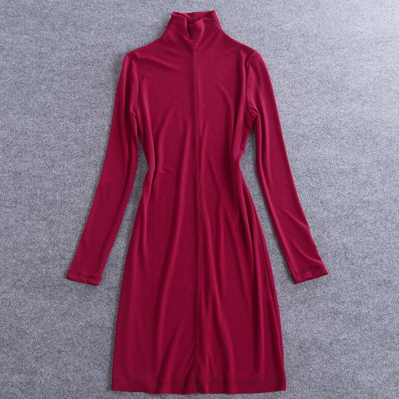 2018 primavera mujer Camisa larga color sólido rojo manga larga cuello vuelto paquete cadera tallas grandes señora moda ropa