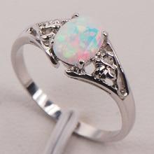 White Fire Opal Australia 925 Sterling Silver Woman Jewelry Ring Size 6 7 8 9 10 11 F579