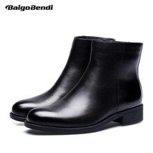 Grande taille US 11 12 homme cuir Super chaud bottes de neige Soliders Zip mi-mollet fourrure bottes hommes hiver garder au chaud bottes