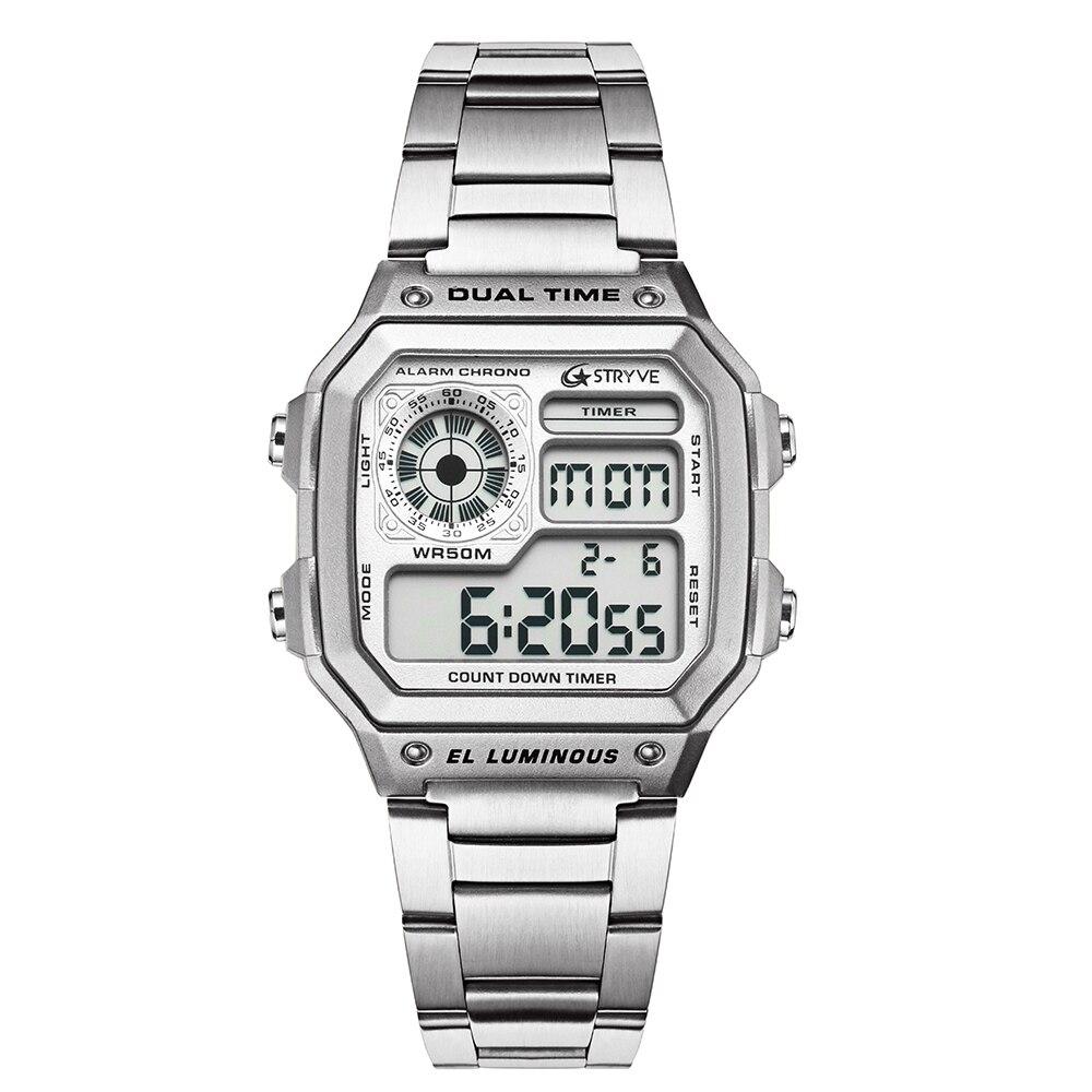 Stryve marca de moda cuadrada Digital Led cuenta abajo reloj deportes impermeable hombres de lujo de acero inoxidable reloj relojes hombre 2018
