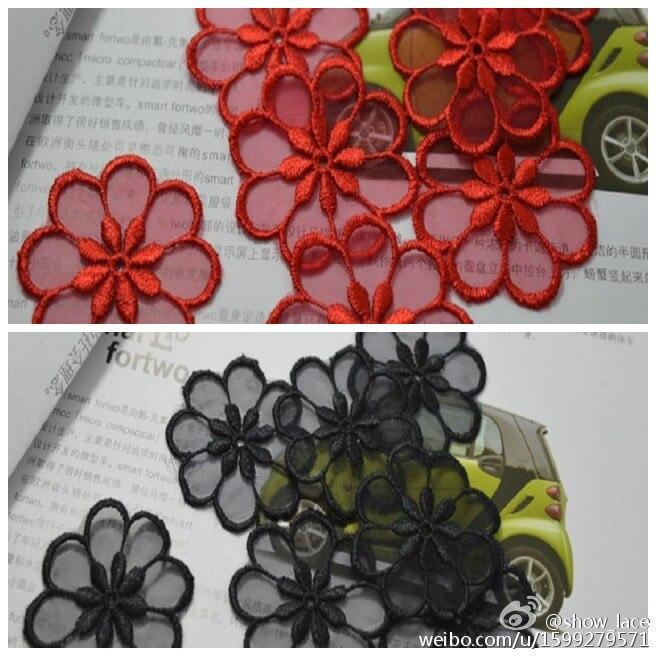 25 unids/lote de apliques redondos de encaje de flores rojas en forma de flor de costura floral motivo de flores Venise para parche bordado de encaje de ropa
