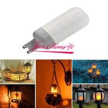 10X 3W LED con efecto de llama bombilla de fuego natural simulada, Bombilla de maíz, lámpara de decoración G9