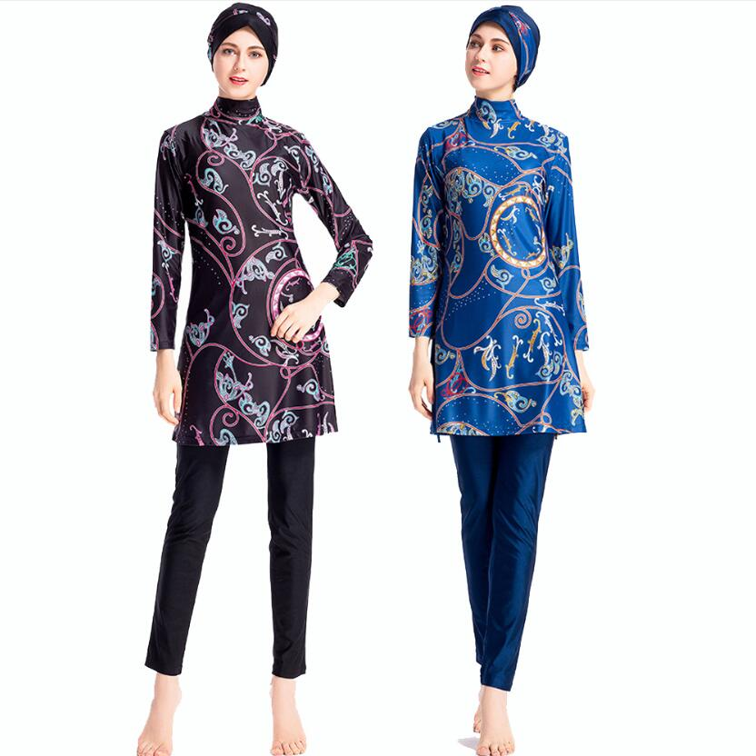 bikini Stroj Kapielowy Plus Size Print Costum Baie Zwempak Moslim Long Sleeve Muslim Swimsuit 2019 Vrouw Zwemkleding Islamitisch