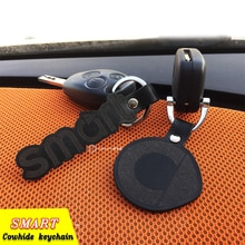 Schwarz leder Rindsleder schlüssel kette Auto Keychain Intelligente 450 451 Smart 453 Fortwo Forfour Auto Schlüssel Ring Hing-end auto