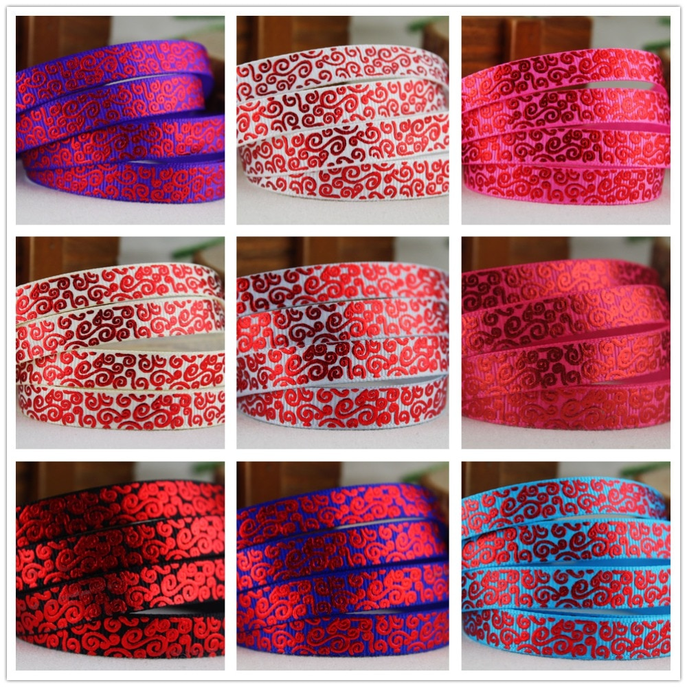 1511229,3/8 10mm patrones rojo caliente impreso cinta grosgrain, accesorios de materiales hechos a mano DIY, regalo de la cinta