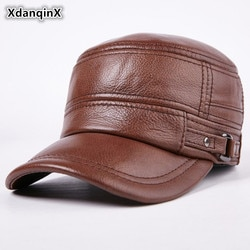 Мужские теплые бейсболки xdangqinx, зимние бейсболки из натуральной воловьей кожи на плоской подошве для взрослых мужчин среднего возраста, кожаные шапки