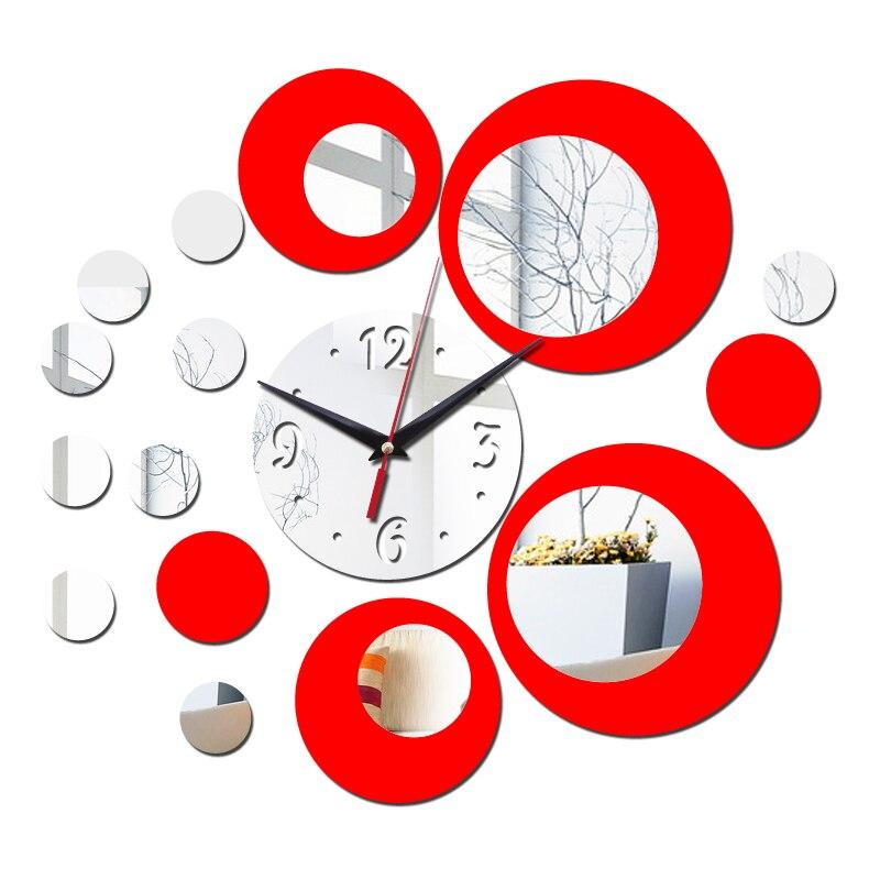 Nuevo reloj de pared de diseño moderno en 3d, reloj de cuarzo, espejo de plástico para sala de estar, pegatina de pared, reloj de pared, decoración del hogar