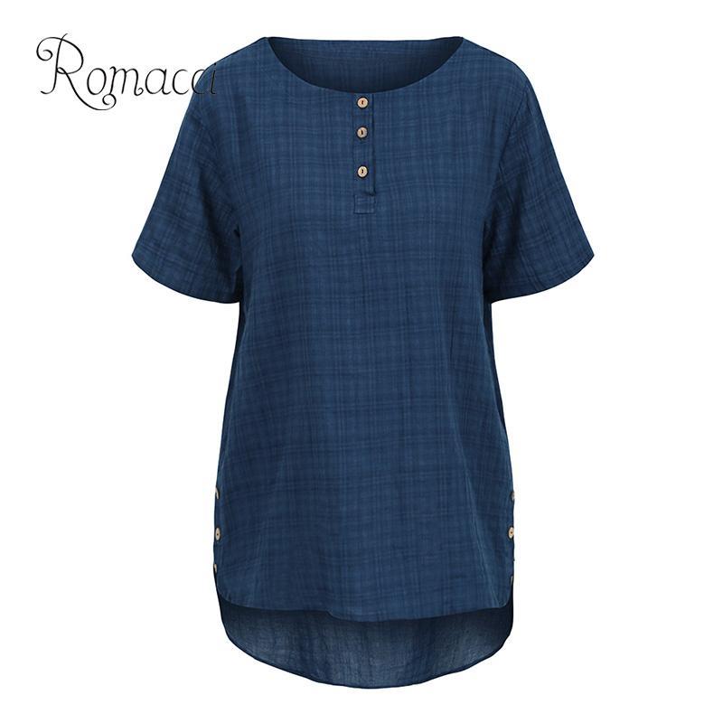 Romacci mulheres blusa de grandes dimensões do vintage meia mangas alta baixa bainha botões feminino cothes solto algodão casual plus size outono topos