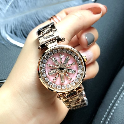 Stainless Steel Rotation Women Rhinestone Watches Fashion Ladies Casual Dress Watch Women Elegant Luxury Quartz Watch Relogios enlarge