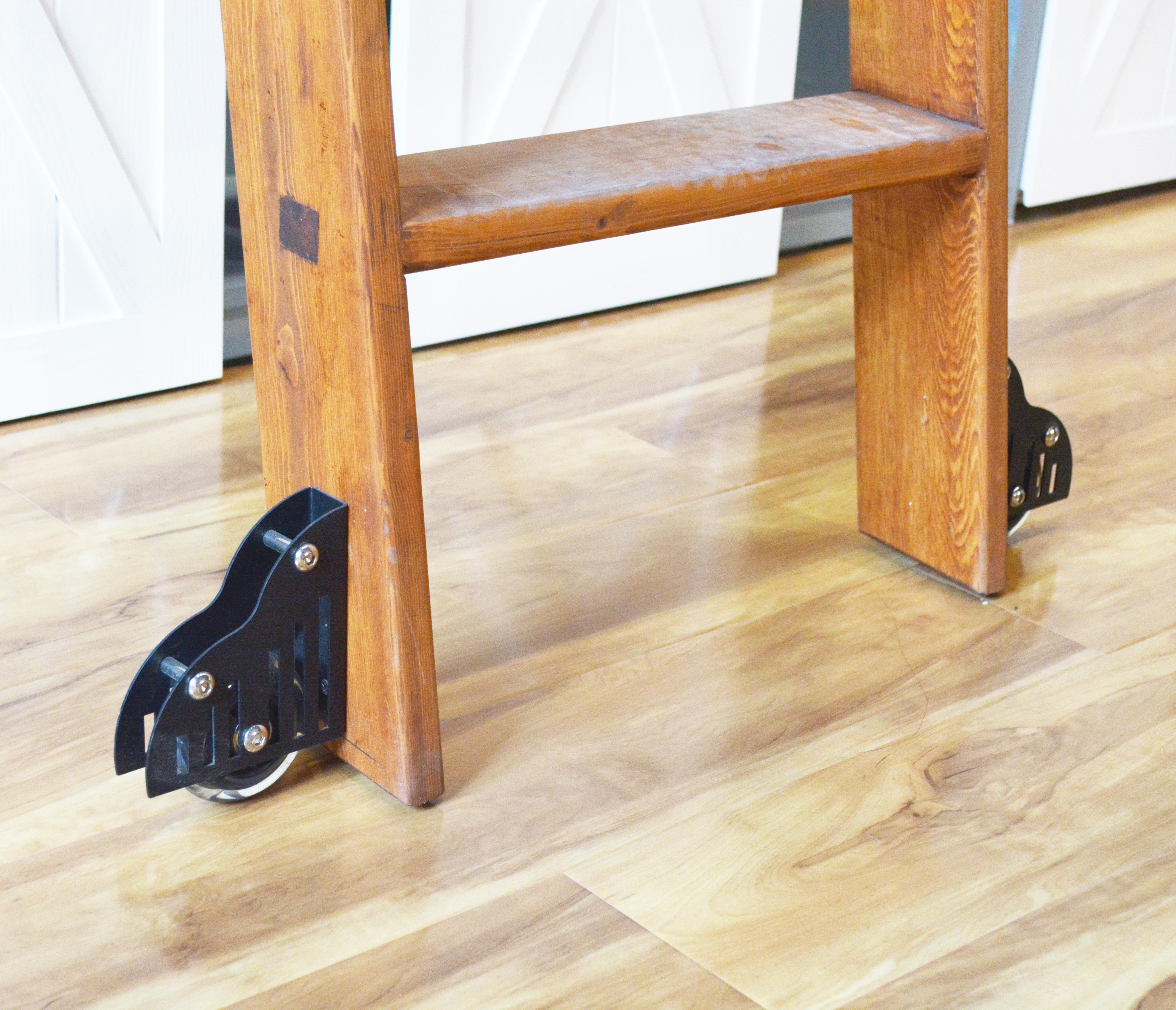 DIYHD Sliding Barn Library Ladder Floor Roller Furniture Floor Roller Set(2pcs)