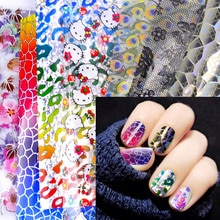 20 Ontwerpen Nail Art Folies Laser Shining Gemengde Beauty Tips Transfer Sticker Craft Diy Universe Decoraties