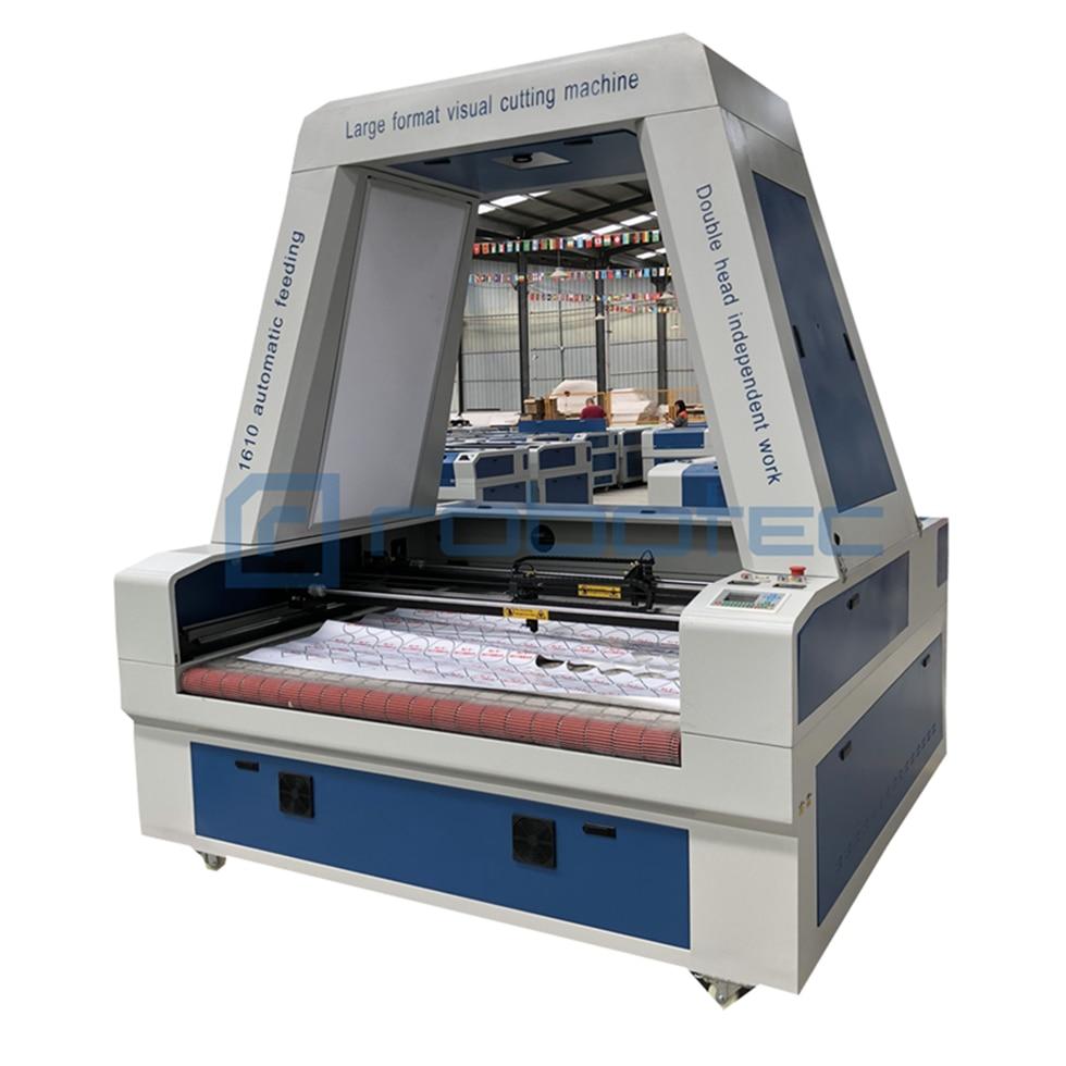 1610 máquina de corte por láser de Co2 de escaneo de cámara CCD de trabajo independiente de doble cabeza