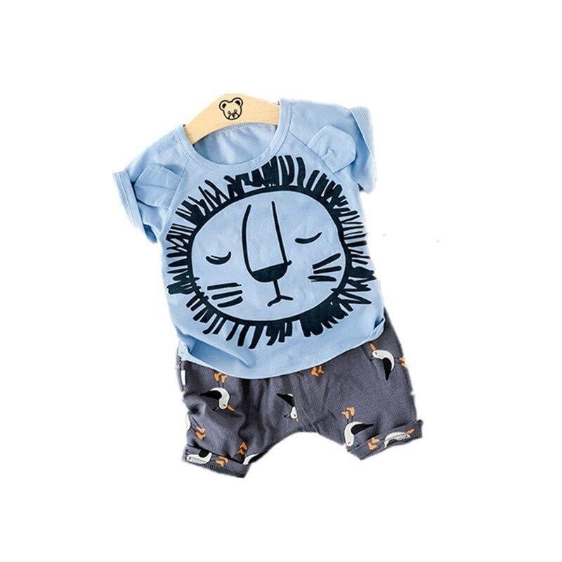 Nueva ropa de verano para bebés y niñas, camiseta de dibujos animados para niños, pantalones cortos 2 unids/set de ropa de algodón para niños, chándales de moda para niños