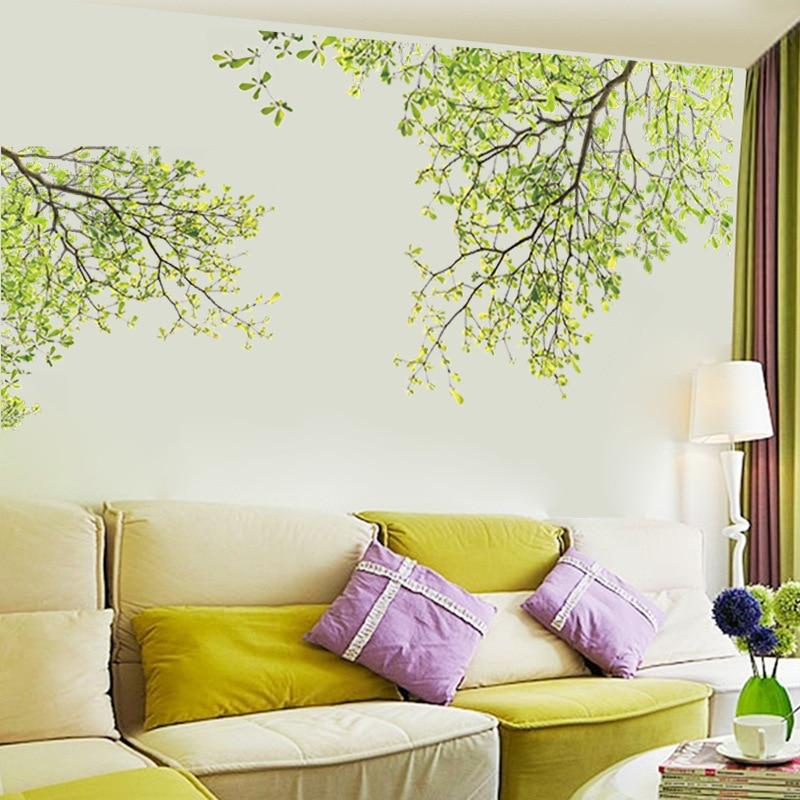 % PVC árbol verde ramas flores pared pegatinas hogar Decoración TV Fondo sala de estar dormitorio niños habitación arte papel tapiz