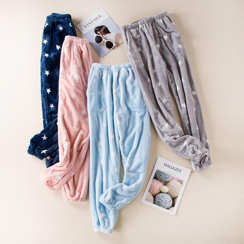 Женские Фланелевые Пижамные штаны Fdfklak, зимние Утепленные штаны для отдыха, брюки для сна Q1413