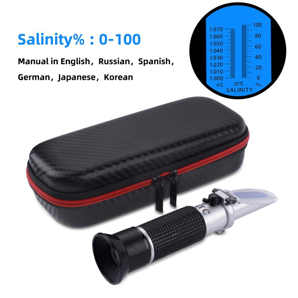 Refratômetro handheld novo da concentração do cloreto de sódio do medidor da salinidade do seawater 0-100% com pacote novo da caixa de choque