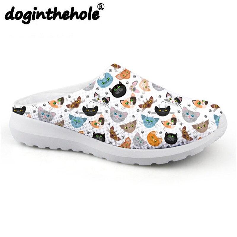 Doginthehole de dibujos animados Animal gato patrón mujeres deporte sandalias deporte al aire libre zapatillas para mujer de zapatos planos para playa niñas 2018
