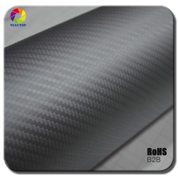 Tamaño tsautop 1,52x30 m 3d película de carbono envoltura de vinilo de coche de gran textura color plata B2B