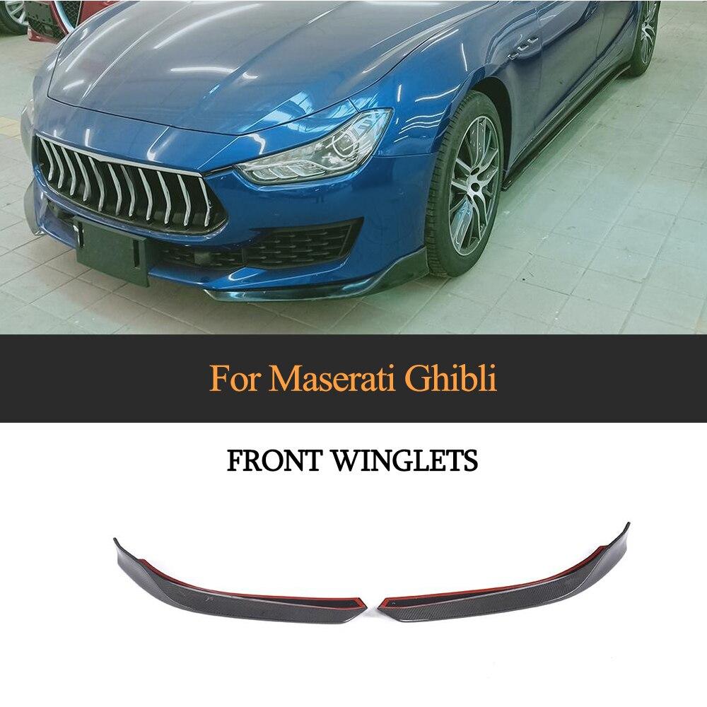 Divisores de labios de parachoques delantero de fibra de carbono para Maserati Ghibli Base Sedan 2018 2019