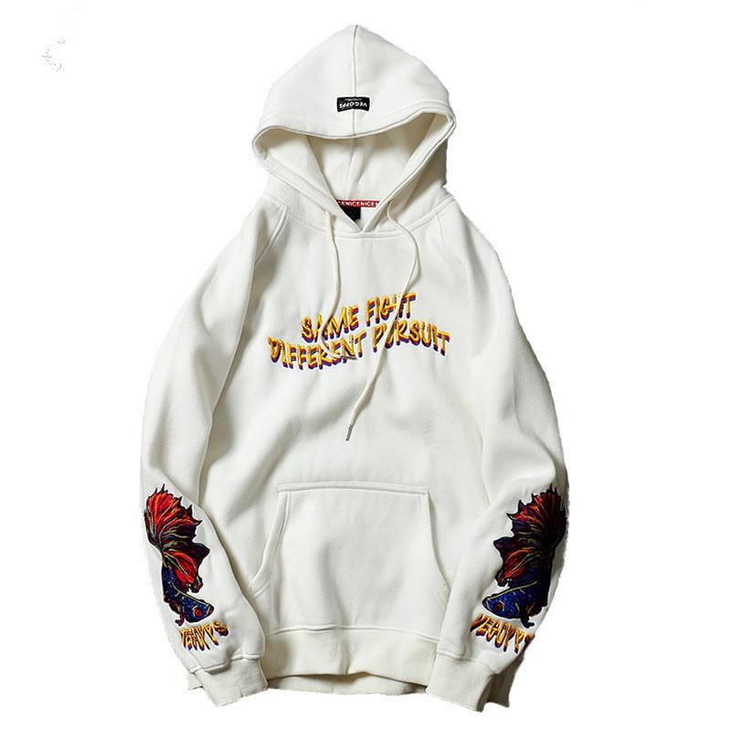 2018 goldfisch Stickerei hoodies männer hip hop streetwear winter frühling fleece warme casual koreanische japanische Pullover männer hoodies