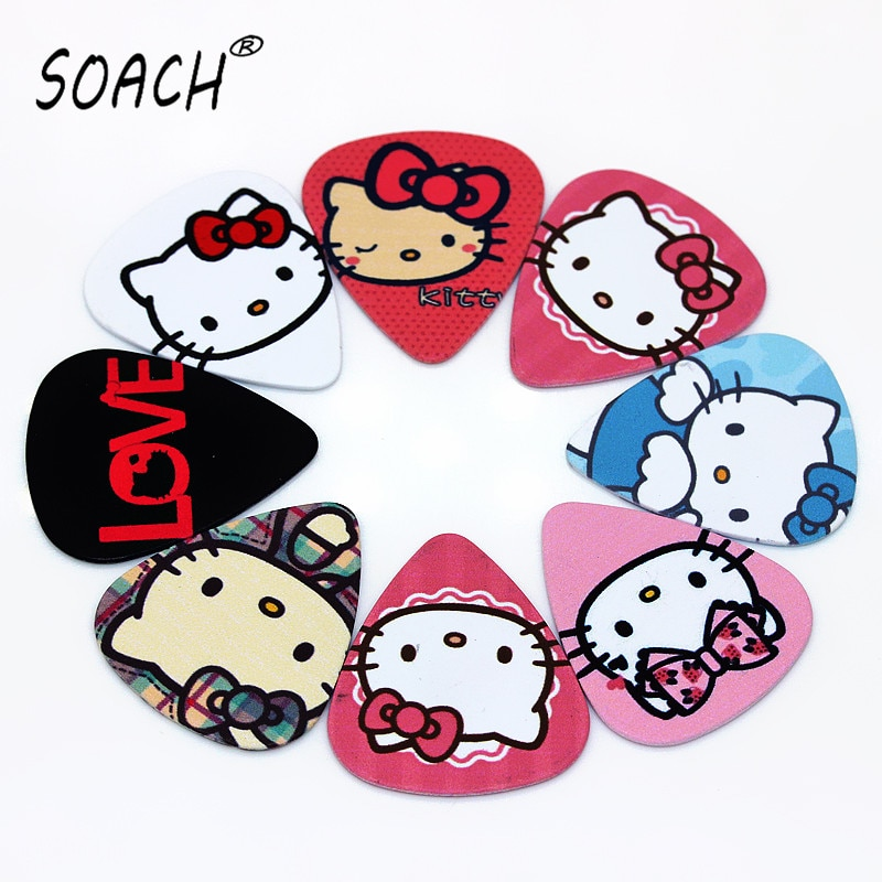 SOACH 10pcs New cartoon cat bass guitar paddle Thickness 0.71mm plastic accessories acoustic guitar pick guitar picks