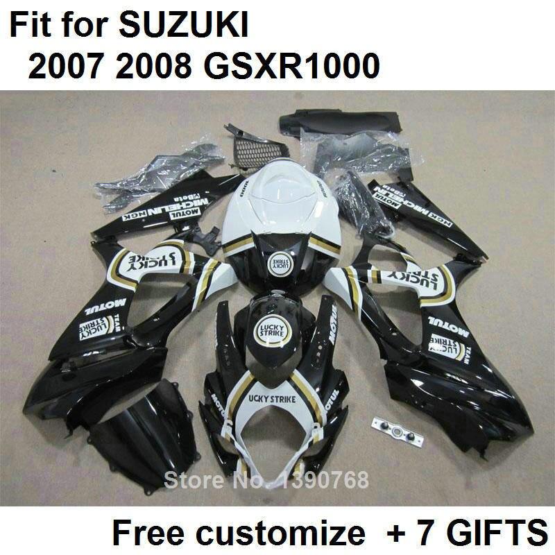 Kit carenagens carroçaria para Suzuki GSXR1000 2007 2008 black white carenagem da motocicleta kit GSXR1000 07 08 BL59