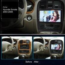 شاشة لمس فائقة النحافة تعمل بنظام الأندرويد 9.1 راديو ملاحة جي بي إس لسيارة هونداي سوناتا 2003*2009 سماعة ستيريو بلوتوث متعددة الوسائط