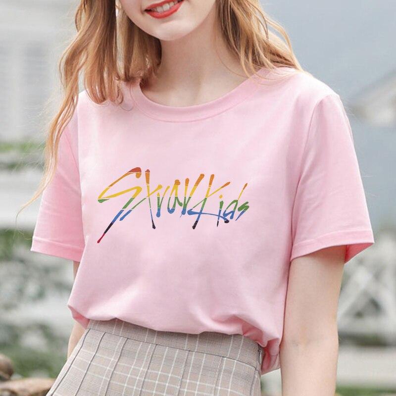 Korea Boy Group Stray Kids camiseta impresa letra K Pop Fans Stay álbum concierto gráfico camiseta mujeres manga corta parte de arriba ropa informal