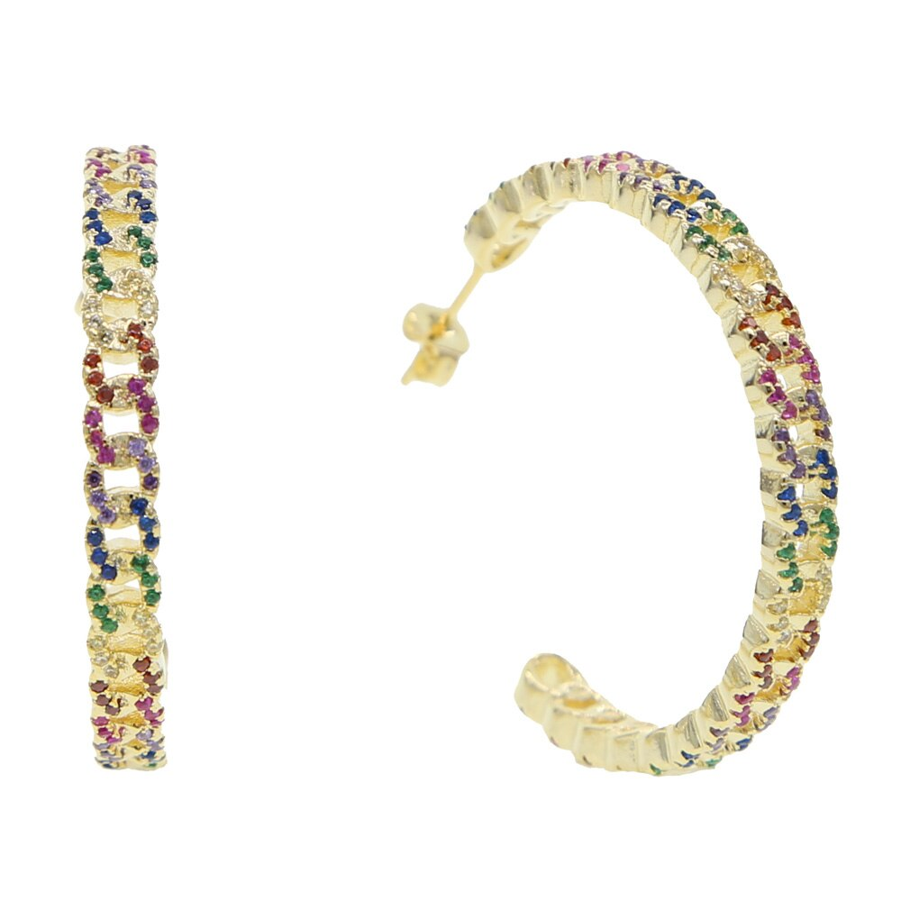 2019 gorgeous Rock hiphop women fashion rainbow jewelry Miami cuban link chain big 38mm women CZ hoop earring