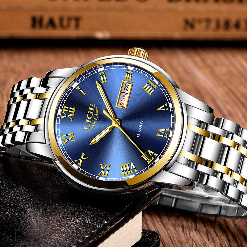 LIGE Couple Watch Gold Blue Watch Women Quartz Watches Ladies Top Brand Luxury Female WristWatch Girl Clock Relogio Feminino+Box enlarge